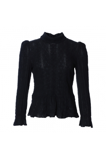 BLACK LACE BLOUSE WITH HIGH...